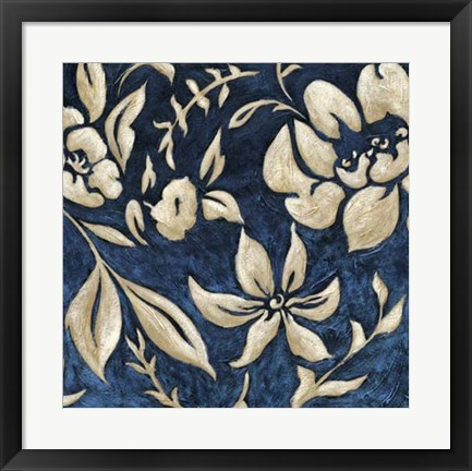 Framed Indigo and Cream Brocade II Print