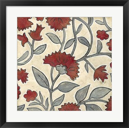 Framed Red & Grey Floral I Print