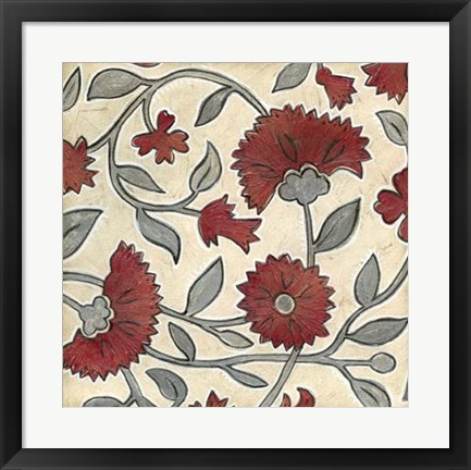 Framed Red & Grey Floral II Print