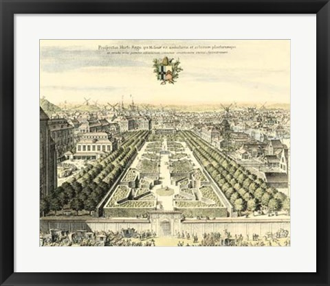 Framed Formal Garden View I Print