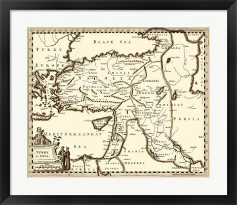 Framed Antiquarian Map III Print