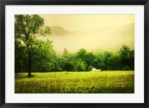 Framed Farmhouse on Foggy Morn' Print