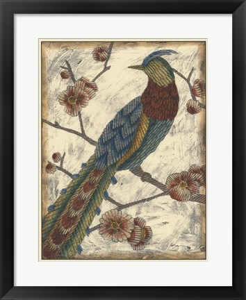 Framed Embroidered Pheasant I Print