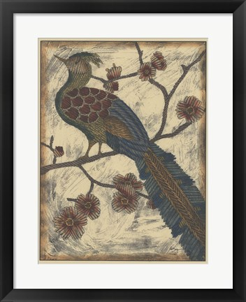 Framed Embroidered Pheasant II Print