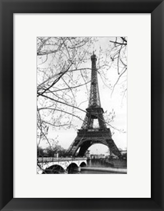 Framed Eiffel Tower Along the Seine River Print