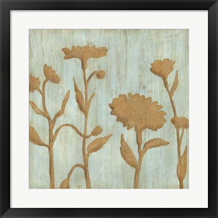 Framed Golden Wildflowers I Print
