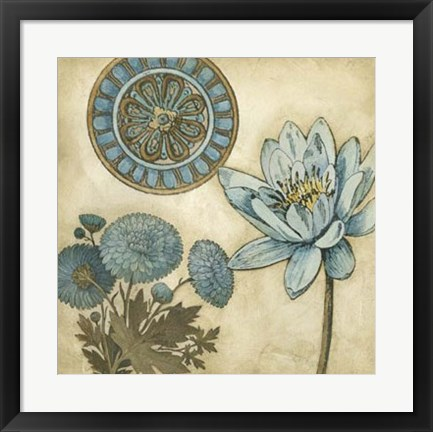 Framed Blue & Taupe Blooms II Print