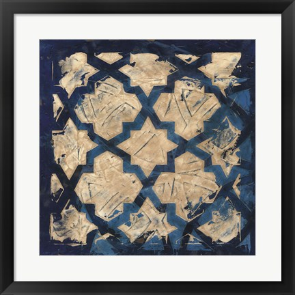 Framed Stained Glass Indigo I Print