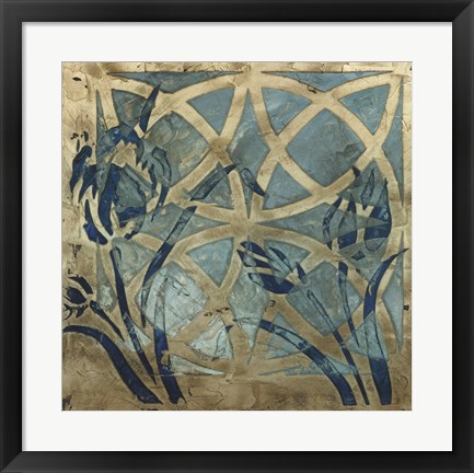 Framed Stained Glass Indigo III Print