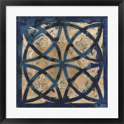 Framed Stained Glass Indigo IV Print