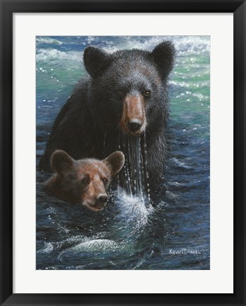 Framed Bearly Swimming Print