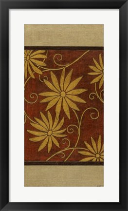Framed Gold Daisies on Mahogany I Print