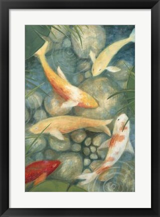 Framed Reflecting Koi II Print