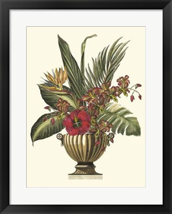 Framed Tropical Foliage in Urn I Print