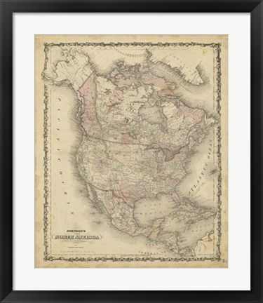 Framed Johnson's Map of North America Print
