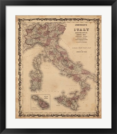 Framed Johnson's Map of Italy Print