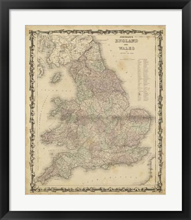 Framed Johnson's Map of England & Wales Print