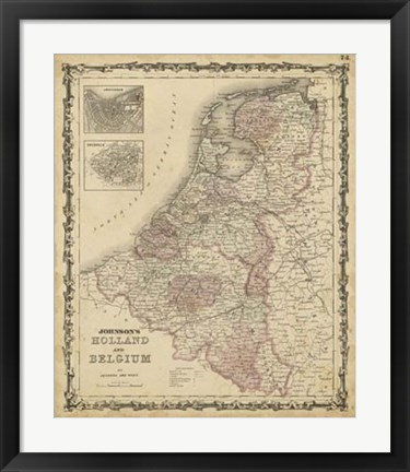 Framed Johnson's Map of Holland & Belgium Print
