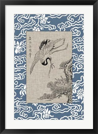 Framed Asian Crane Panel I Print