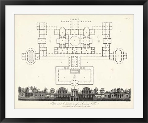 Framed Plan & Elevation for a Roman Villa Print