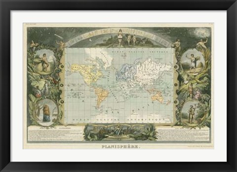 Framed 1885 Planisphere of the World Print