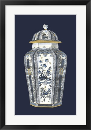 Framed Asian Urn in Blue & White I Print