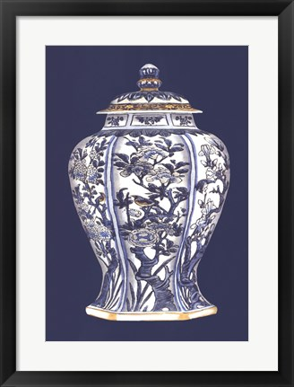 Framed Blue & White Porcelain Vase I Print