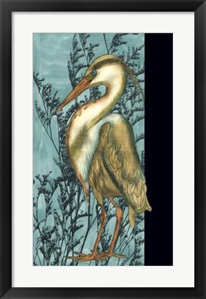 Framed Heron in the Grass II Print
