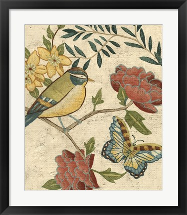 Framed Antique Aviary I Print