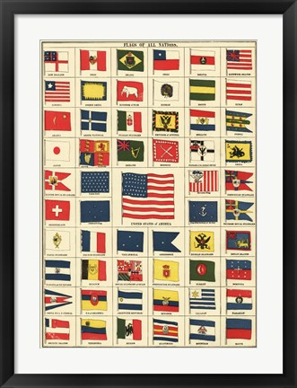 Framed Flags of All Nations III Print