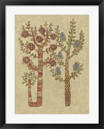 Framed Linen Trees II Print