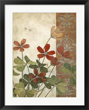 Framed Red Antique Floral I Print