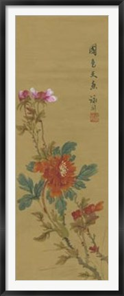 Framed Oriental Floral Scroll I Print
