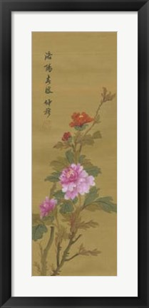 Framed Oriental Floral Scroll II Print