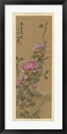 Framed Oriental Floral Scroll III Print