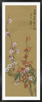 Framed Oriental Floral Scroll VI Print