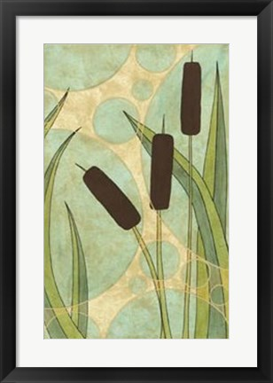 Framed Tranquil Cattails III Print
