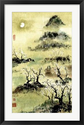 Framed Viewing Plum Blossoms in Moonlight Print