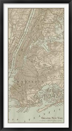 Framed Tinted Map of New York Print