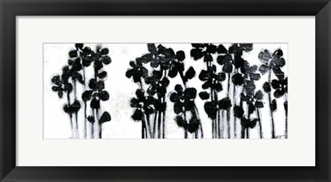 Framed Black Flowers on White I Print