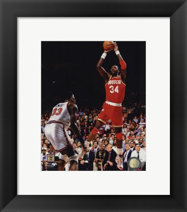 Framed Hakeem Olajuwon Game 4 of the 1994 NBA Finals Action Print