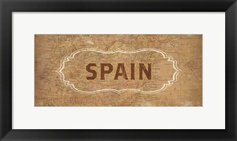 Framed Vintage Sign - Spain Print