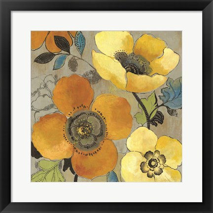 Framed Yellow and Orange Poppies I Print
