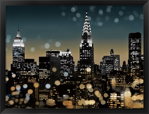Framed New York Night I Print