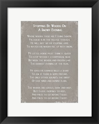 Framed Stopping By Woods On A Snowy Evening Poem by Robert Frost Print