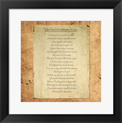 Framed Men Improve With the Years by William Butler Yeats Print