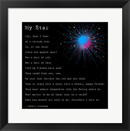 Framed My Star by Robert Browning Print