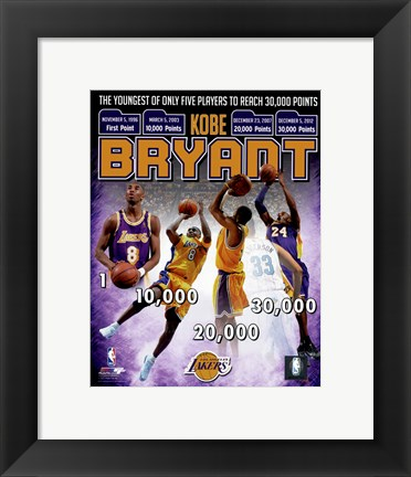 Framed Kobe Bryant Youngest Player in NBA History to reach 30,000 Points Print