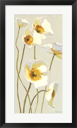 Framed White on White Poppies Panel I Print