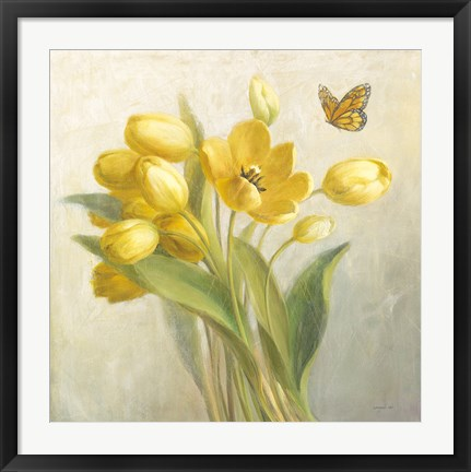 Framed Yellow French Tulips Print